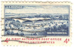 U.S. Post Office Stamp. Canceled 4 cent United States of America 1960 first automated post office stamp.  Post office in Providence, Rhode Island Royalty Free Stock Image
