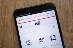 U.S. Postal Service website displayed on a modern smartphone royalty free stock photography