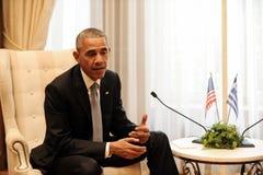 U.S. President Barack Obama  with the Greek Prime Minister Alexi Stock Image