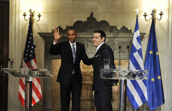 U.S. President Barack Obama, right, and Greek Prime Minister Al Royalty Free Stock Photos
