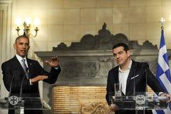 U S Prezydent Barack Obama, dobro i Grecki Pierwszorzędnego ministra Al, Zdjęcia Stock