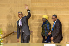 U S Prezydent Barack Obama robi jego pierwszy prezydenckiej wizycie t Fotografia Royalty Free