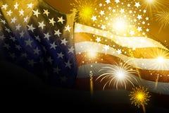 U.S.A. progettazione di festa dell'indipendenza del 4 luglio della bandiera dell'america con il fuoco d'artificio Fotografia Stock