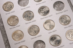 U.S. quarters collection. United States quarter collection in a book Stock Photography