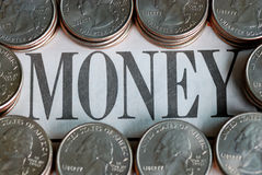 "U.S. quarters surrounding the word ""Money"" Stock Photo"