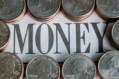 "U.S. quarters surrounding the word ""Money"". United States quarters surrounding the word ""Money Stock Photo"