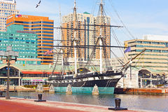 U.S.S. Constellation historic ship docked in Baltimore Inner Harbor in winter. Stock Photos
