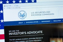 U.S. Securities and Exchange Commission displayed on the computer screen. KYRENIA, CYPRUS - SEPTEMBER 08, 2018: Website of U.S. Securities and Exchange royalty free stock photography