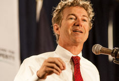U.S. Senador Rand Paul, R-Kentucky, habla en Manchester, NH, el 12 de abril de 2014 Imagen de archivo libre de regalías