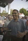 U.S. Senator Barak Obama. With arms out as he campaigns for President at Iowa State Fair in Des Moines Iowa, August 16, 2007 Royalty Free Stock Image