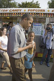 U.S. Senator Barak Obama. Campaigning for President with daughter at Iowa State Fair in Des Moines Iowa, August 16, 2007 Stock Photos