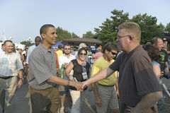 U.S. Senator Barak Obama. Shaking hands while campaigning for President at Iowa State Fair in Des Moines Iowa, August 16, 2007 Royalty Free Stock Image