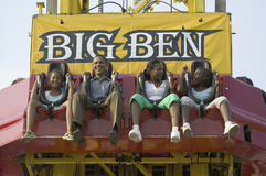 U.S. Senator Barak Obama taking ride on Big Ben. With his daughters while campaigning for President at the Iowa State Fair in Des Moines Iowa, August 16, 2007 Stock Photography
