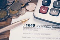 U S skatt för 1040 datalista Arkivbild