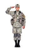 U.S. soldier salutes Royalty Free Stock Photography