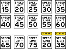 U.S. Speed Limit Signs. From 15-75 MPH. Includes 2 School Zone variations Stock Photography