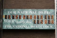 U.S. Staatsschuld-Borduhr lizenzfreie stockfotos