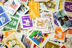 U.S. Stamps. A collection of U.S. stamps in a pile Royalty Free Stock Photos