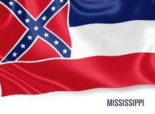 U.S. state Mississippi flag. Stock Image