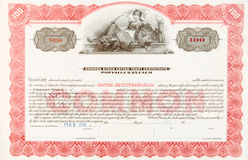 U.S. Stock Certificate 1916 Woman Reclining Lion Royalty Free Stock Image