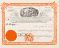 U.S. Stock Certificate Mining Company 1898 Miners. U.S. Stock certificate from a Eureka, Utah mining company issued in 1898.  The vignette shows miners working Stock Image