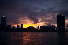 U.S.. Sunset in Miami. Beautiful sunset in Miami Royalty Free Stock Photo