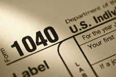 U.S. Tax form 1040. Close up of U.S. individual income tax form return Stock Photography