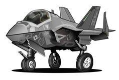 U S Tecknad film för flygplan för kämpe för slag för blixt II för marin F-35C gemensam stock illustrationer