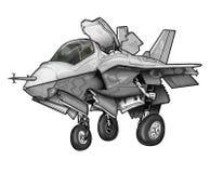 U S Tecknad film för flygplan för kämpe för slag för Marine Corps F-35B blixt II gemensam royaltyfri illustrationer