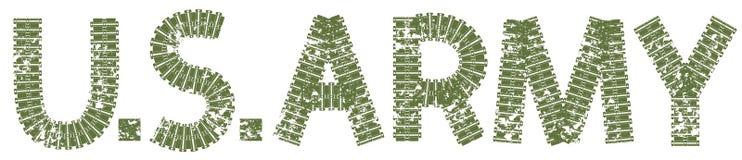 U S Texto do exército com as letras feitas de trilhas do tanque Fotografia de Stock
