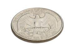 U S tjugofem cent mynt som isoleras på vit bakgrund Royaltyfria Foton