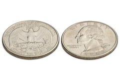 U.S. twenty five cents coin isolated on white background. macro Stock Photo