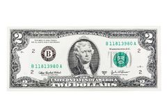 U.S. two dollar bill on a white background. High resolution photo stock photos