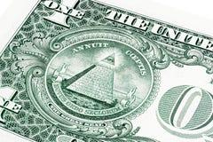 U S un 1 billete de dólar en una foto del primer imagenes de archivo