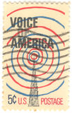 U.S. Voice of America Stamp. Canceled 5 cent United States of America Voice of America stamp Stock Photo