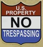 U S Własność Żadny Trespassing znak Obrazy Stock