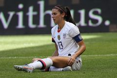U.S. Women`s National Soccer Team captain Alex Morgan #13 in action during friendly game against Mexico. HARRISON, NJ - MAY 26, 2019: U.S. Women`s National stock image
