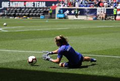 U.S. Women`s National Soccer Team goalkeeper Alyssa Naeher #1 in action during warm up before friendly game against Mexico. HARRISON, NJ - MAY 26, 2019: U.S stock image