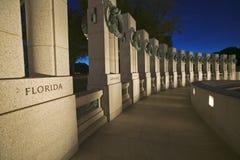 U.S. World War II Memorial commemorating World War II in Washington D.C. at dusk Stock Images