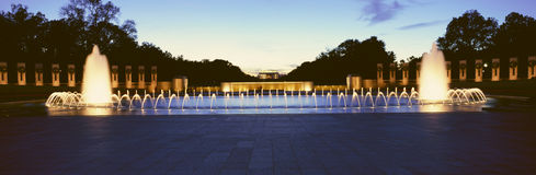 U.S. World War II Memorial commemorating World War II in Washington D.C. at night Stock Images