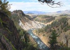 U.S.A., Wyoming: Canyon del paesaggio - il fiume Yellowstone Fotografie Stock Libere da Diritti