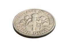 U S zehn-Cent-Münze lokalisiert auf weißem Hintergrund Lizenzfreies Stockbild