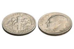 U S zehn-Cent-Münze lokalisiert auf weißem Hintergrund Blasenkäfer Meloe Stockfotografie