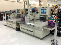 U-Scan Express Self Checkout Machine. SPRINGFIELD, OR - OCTOBER 28, 2015: U-Scan Express Self Checkout scanner machine at a grocery store supermarket Royalty Free Stock Image