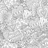 U senza cuciture astratta con i cuori disegnati a mano di scarabocchi illustrazione vettoriale