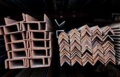 U-sezioni ed angoli del canale d'acciaio Immagini Stock Libere da Diritti
