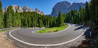 U-shape curve with Dolomite landmark royalty free stock images