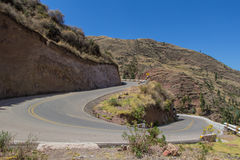 U-shaped turn on a mountain road. Royalty Free Stock Photo