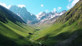 U-shaped valley covered in an meadow stock video footage