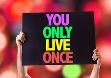 U slechts Live Once-kaart met bokehachtergrond Stock Foto's